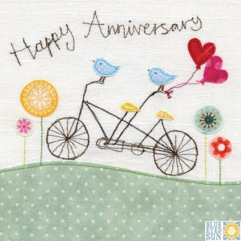 Happy Anniversary Birds on Bicycle Card