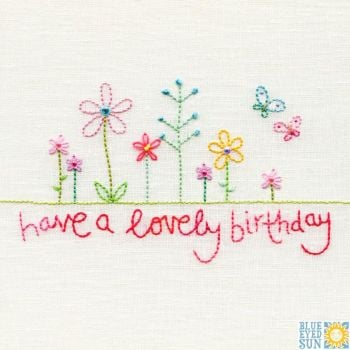 Lovely Birthday Stitched Flowers Card
