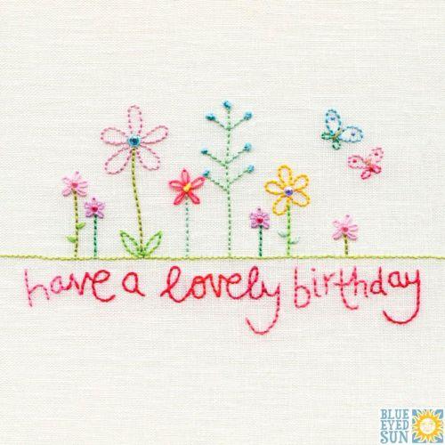 Happy Birthday Stitched Flowers