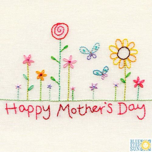 Happy Mother's Day Stitched Flowers