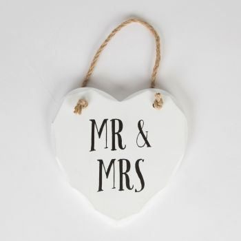 Mr and Mrs Hanging Heart - White