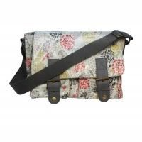 Geometric Print Oilcloth Satchel Bag