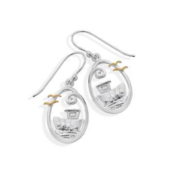 Sterling Silver Boat Scene Earrings