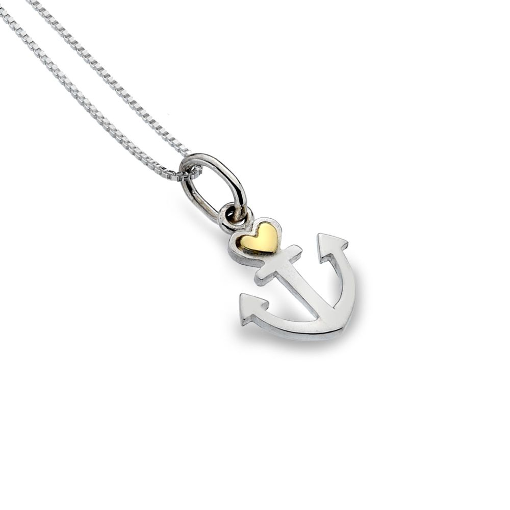 Anchor with Brass Heart Necklace