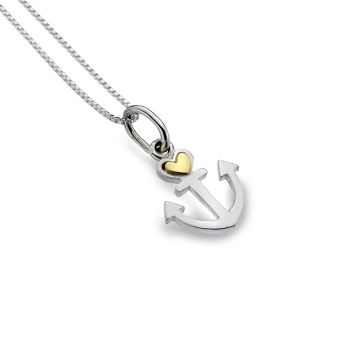 Sterling Silver Anchor with Brass Heart Necklace
