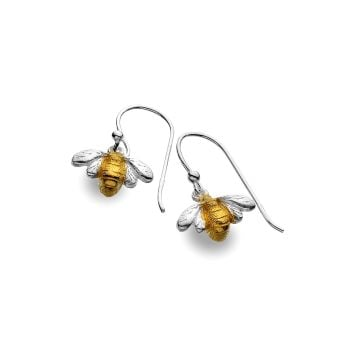 Sterling Silver Bee with Brass plated Body Earrings