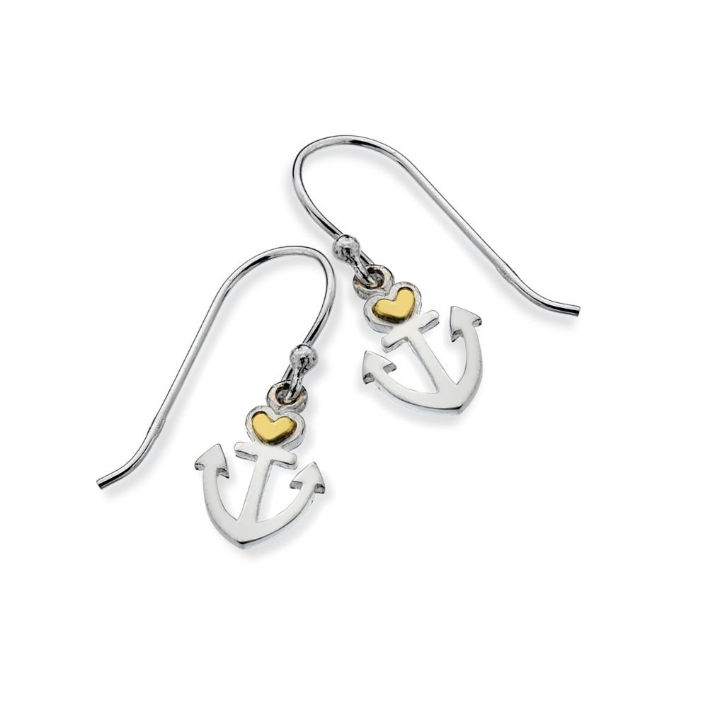 Anchor with brass heart earrings