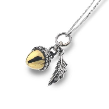 Sterling Silver and Gold Plated Acorn Necklace