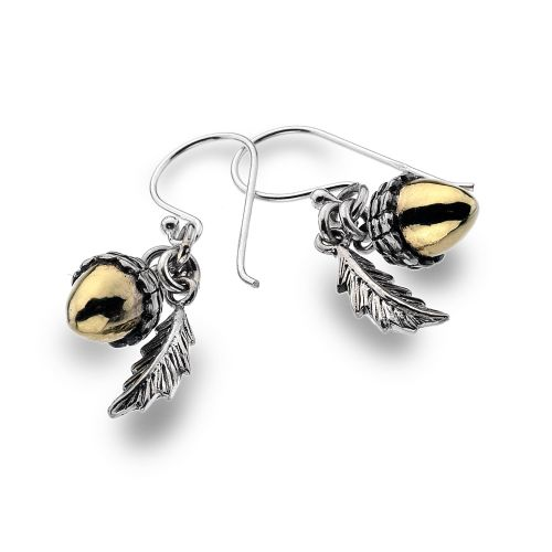 Sterling Silver and Gold Plated Acorn Earrings.