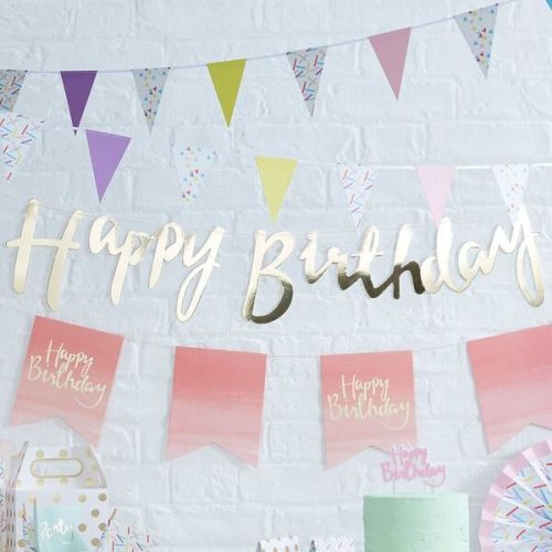 Ginger Ray 'Happy Birthday' Gold Card Banner