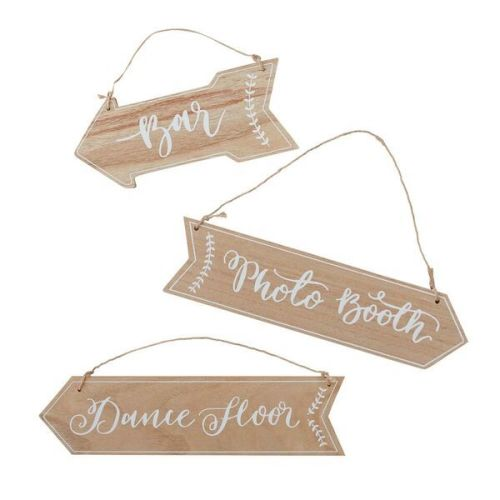 Wooden Arrow Signs - Bar, Dance Floor, Photo Booth
