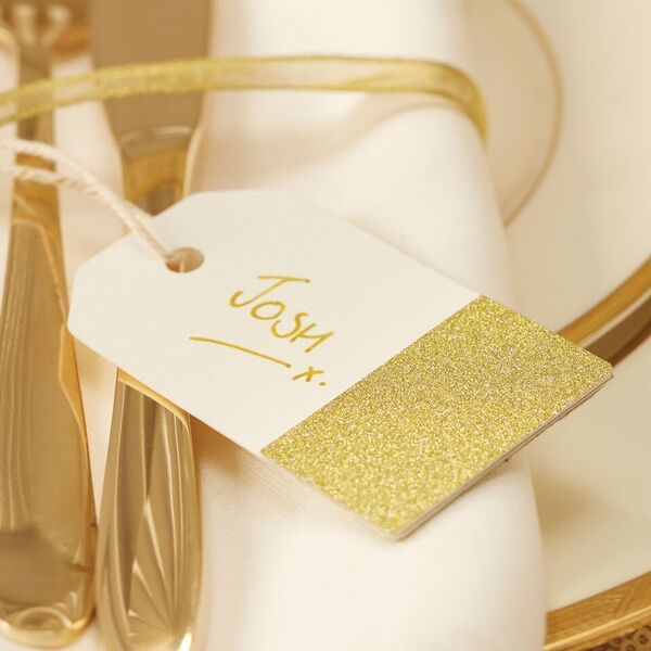 Gold Glittered Dipped Tags - Pack of 10