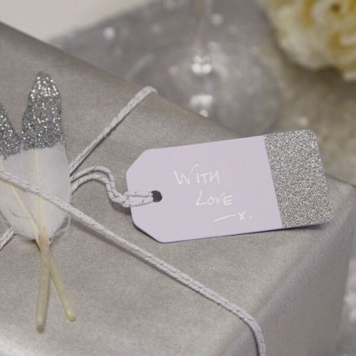 Silver Glitter Dipped Tags - Pack of 10
