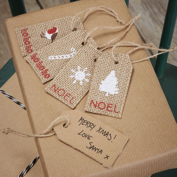 Hessian Assorted Design Christmas Tags - Pack of 8