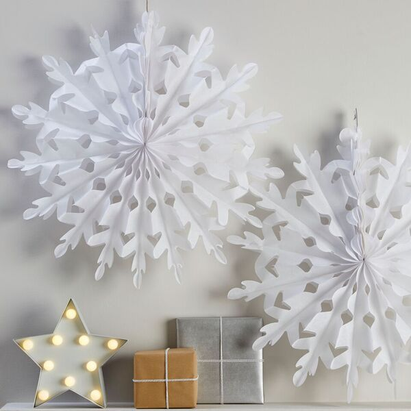 Large White Tissue Paper Snowflake Decoration - Set of 2