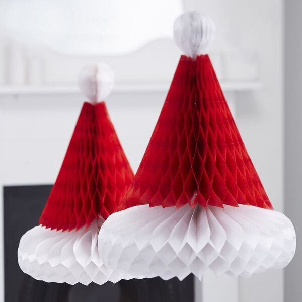Santa Hat Honeycomb Tissue Paper Decorations - Pack of 2