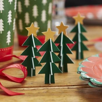 Mini Card Christmas Trees Table Decorations - Box of 5