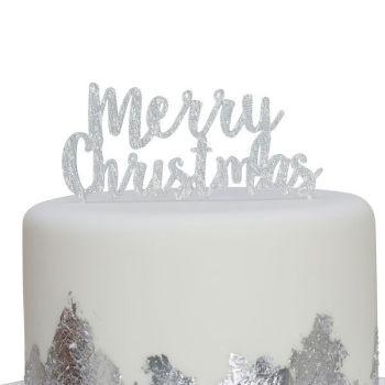 Silver Glitter 'Merry Christmas' Cake Topper