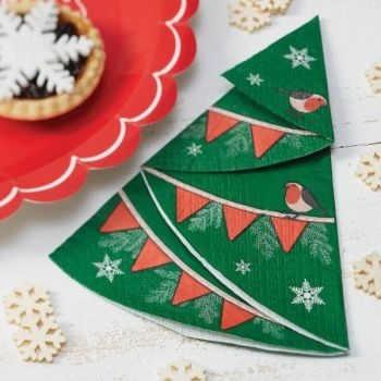 Ginger Ray Christmas Tree with Robin Napkins - Pack of 12