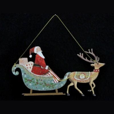 Gisela Graham Father Christmas with Sleigh Decoration