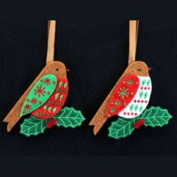 Gisela Graham Felt Robin Decoration - 2 Assorted