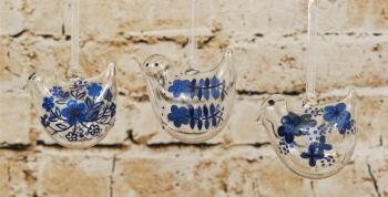 Gisela Graham Glass Hanging Bird Decoration with Blue Flower Decoration