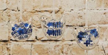 Gisela Graham Glass Hanging Bird Decoration with Blue Flower Decoration