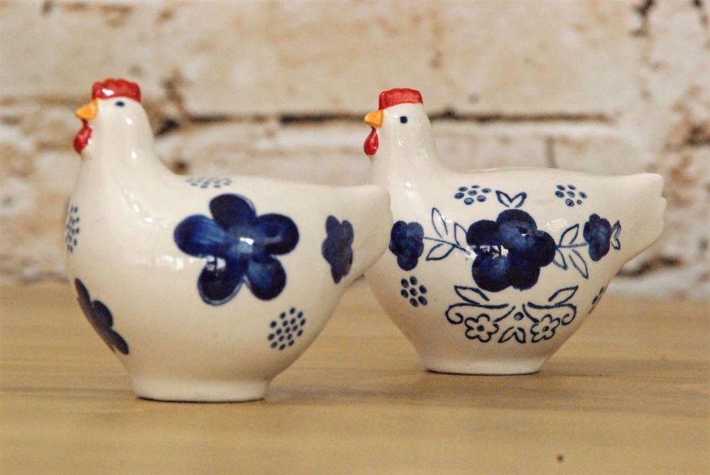 Gisela Graham Blue and White Ceramic Hen Salt and Pepper Set