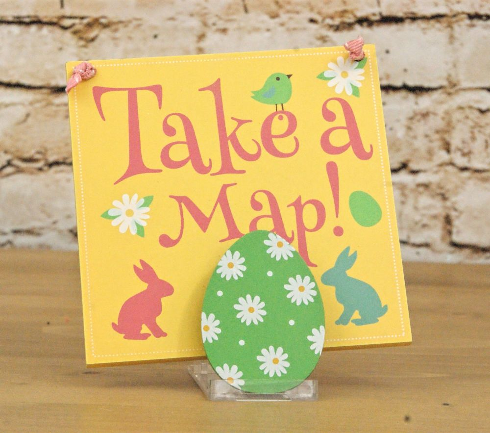 Take a Map! Easter Egg Hunt Clip Sign on Ribbon Hanger