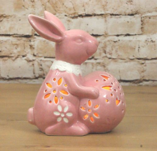 Gisela Graham Ceramic LED Light Up Bunny Ornament - Pink