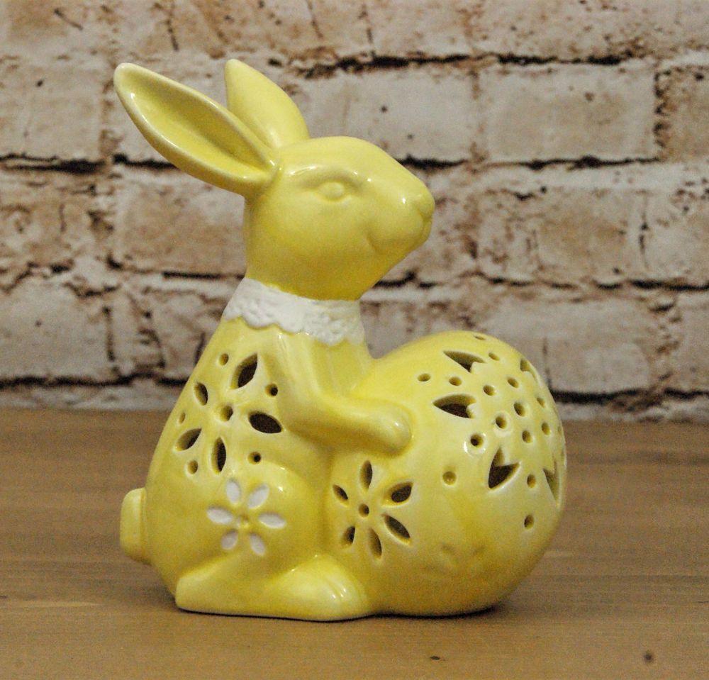 Gisela Graham Ceramic LED Light Up Bunny Ornament - Yellow