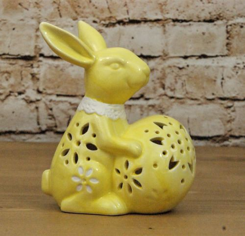Gisela Graham Ceramic LED Light Up Bunny Ornament - Yellow