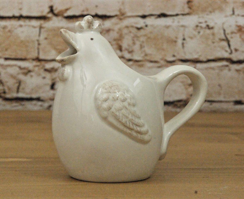 Gisela Graham White Ceramic Hen 'Glug Jug'