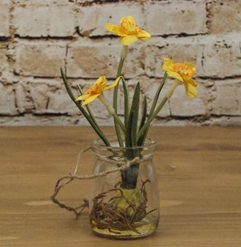 Gisela Graham Artificial Potted Daffodil Bulb in Glass Pot