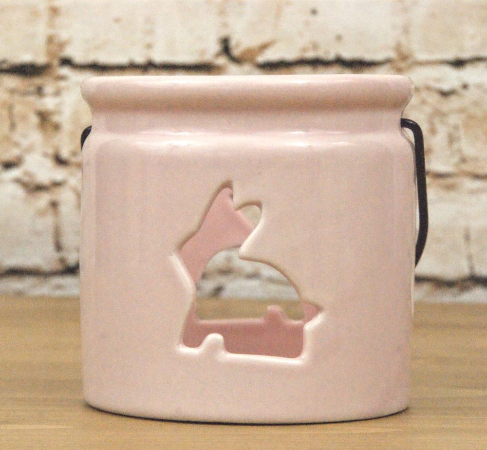 Gisela Graham Ceramic Hanging Tealight Pot with Cut Out Bunny Design