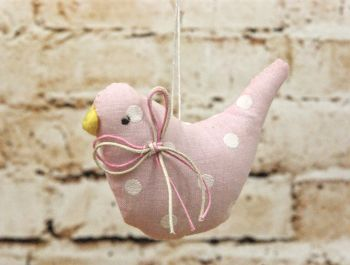 Gisela Graham Pastel Fabric Polka Dot Bird Hanging Decoration