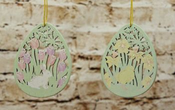 Gisela Graham Pastel Garden Fretwork Egg Hanging Decoration