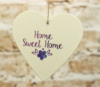 Gisela Graham Blue and White Wooden Home Motto Heart Hanging Decoration