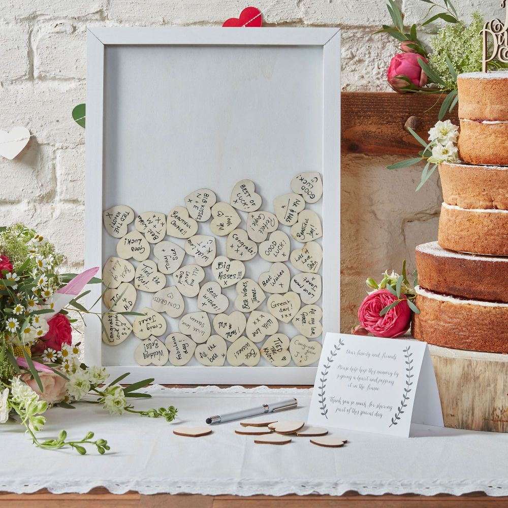 Frame Guest Book with Wooden Hearts