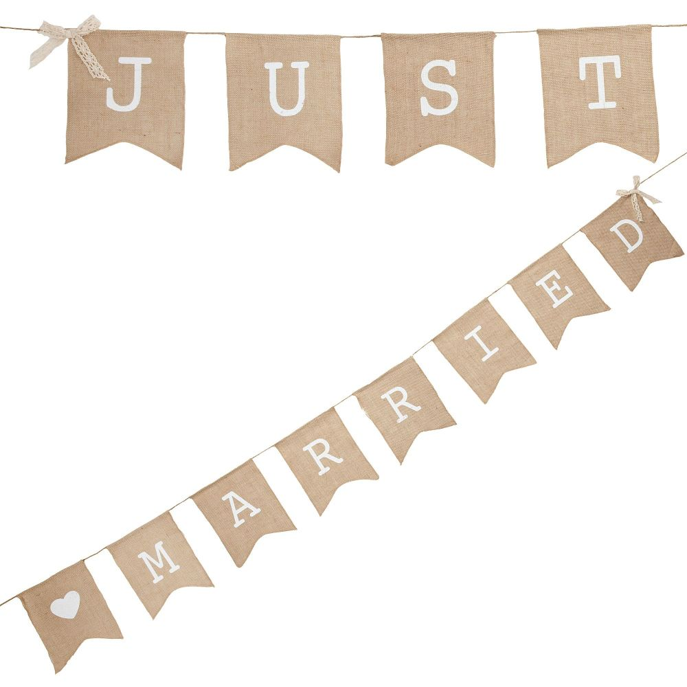 Ginger Ray 'Just Married' Burlap Hessian Flag Bunting