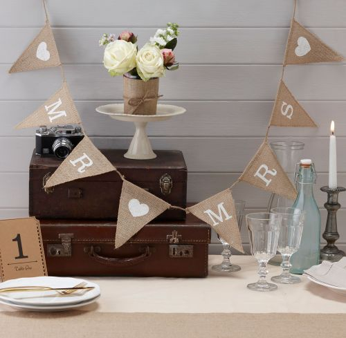 Ginger Ray 'Mr and Mrs' Hessian Bunting