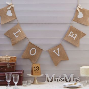 Ginger Ray 'Love' Hessian Flag Bunting