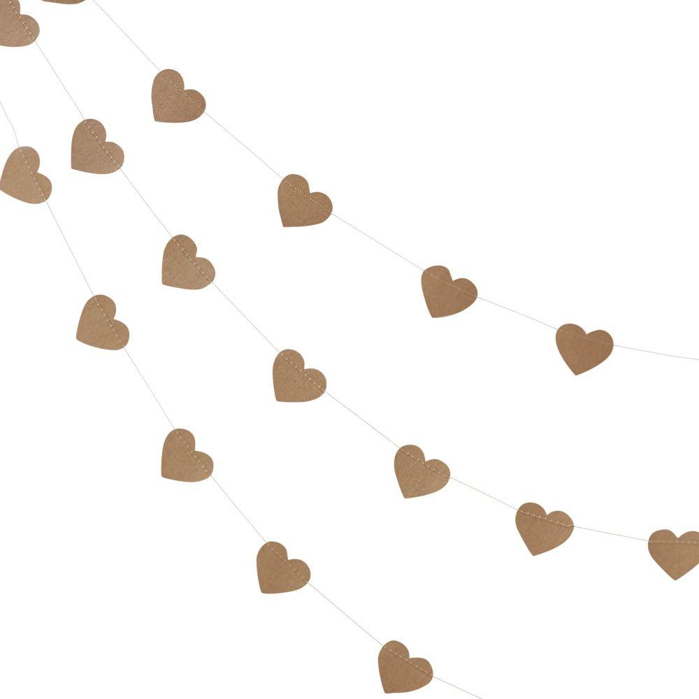 Ginger Ray Kraft Card Heart Bunting