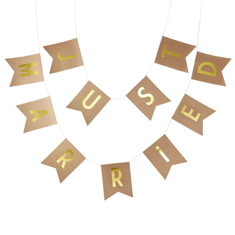 Ginger Ray Kraft Card 'Just Married' Bunting in Gold foil lettering.