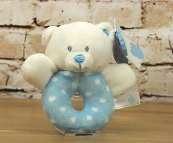 Baby Boy Blue Plush Bear Ring Rattle - Keel Toys