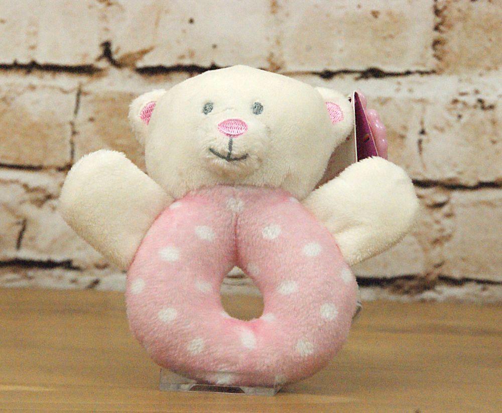 Baby Girl Pink Plush Bear Ring Rattle - Keel Toys