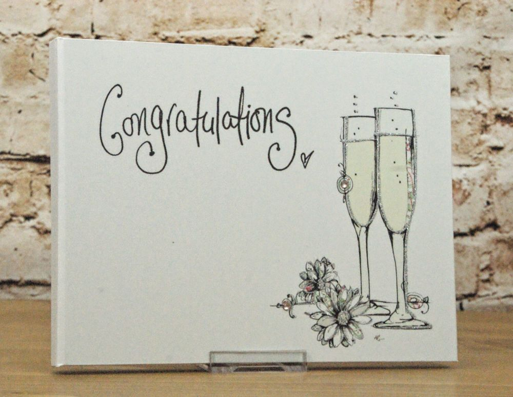 'Congratulations' Guest Book with Champagne Glass Design
