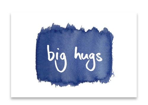 'Big Hugs' Watercolour Design Mini Card
