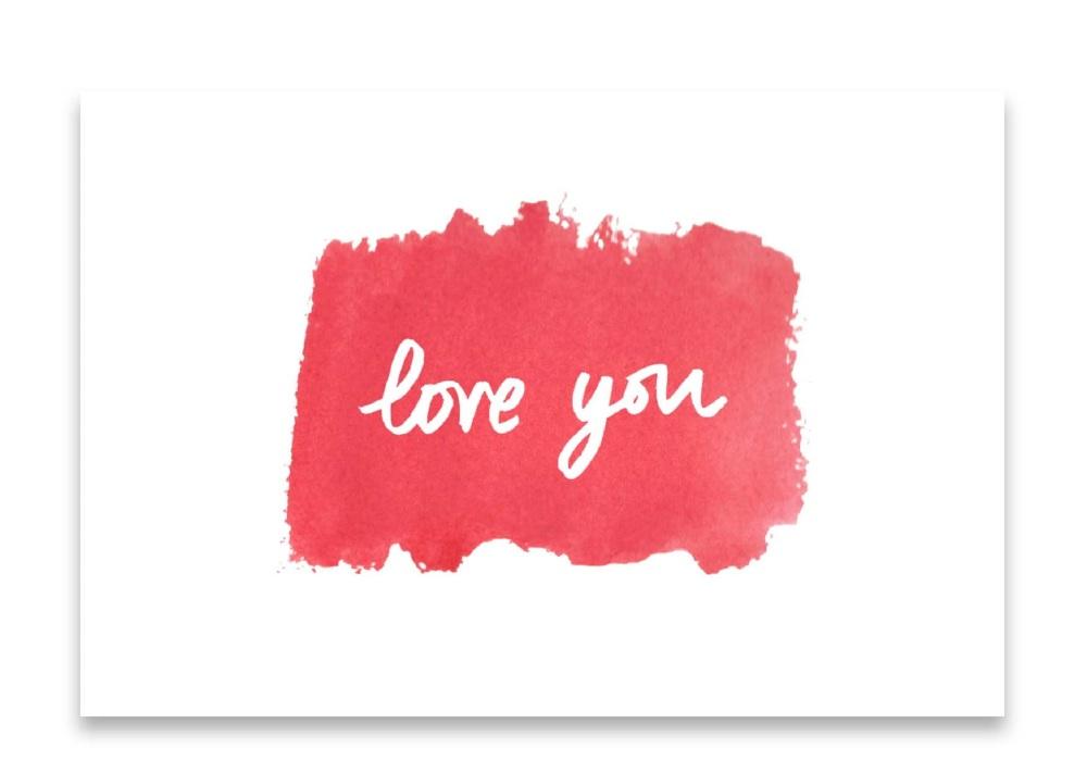 'Love You' Watercolour Design Mini Card