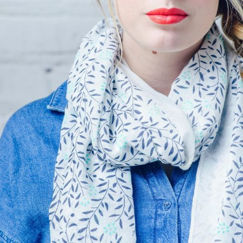 White and Blue Floral Branch Scarf
